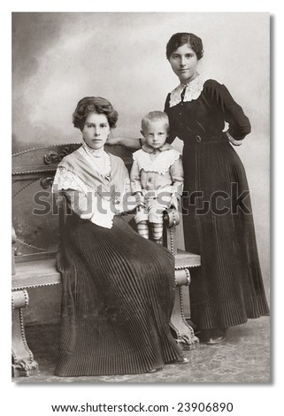 Russian vintage portrait, end of XIX  century. - stock photo