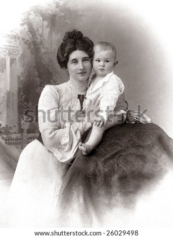 Russian vintage portrait, end of XIX century - stock photo