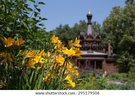 Russian wooden orthodox church - stock photo