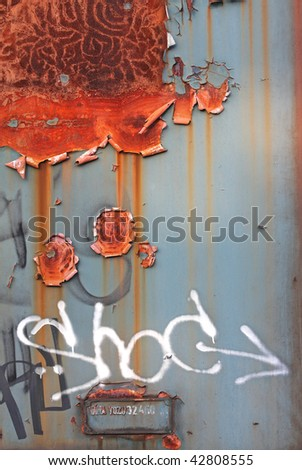 rust of the wagon wall & tag - stock photo