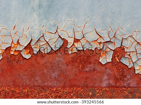 Rust rusty corroded oxidize colorful surface metal sheet plate pattern wallpaper crack grunge abstract aged background iron artistic wall flaking peeling paint.  - stock photo