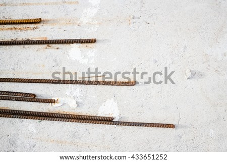 Rust steel bar and concrete - stock photo
