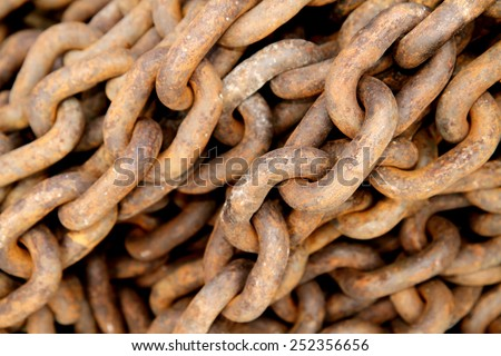 Rust steel chain link - stock photo
