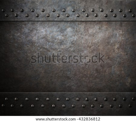 rust steel metal texture with rivets 3d illustration - stock photo