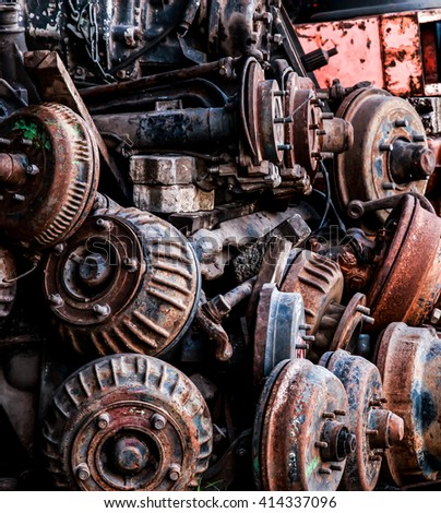 Rust wheel parts , The rust car parts in junkyard.  - stock photo