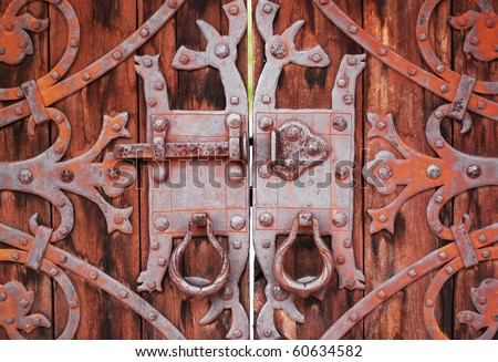 Rusted Castle Gate Lock - stock photo