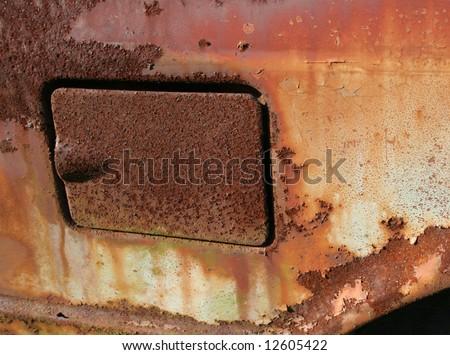 Rusted Gas Cap Door - stock photo