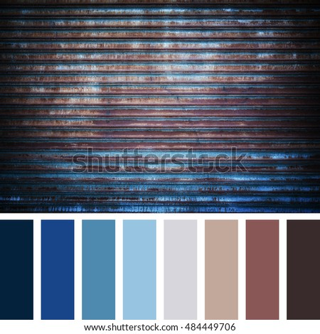 Rusted metal grille, in a colour palette with complimentary colour swatches.