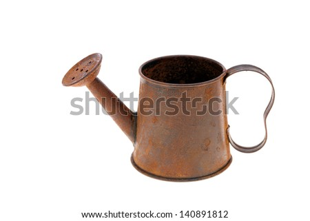 rusted old miniature watering can isolated on white background - stock photo