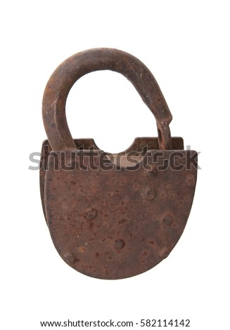 rusted open padlock, isolated on white