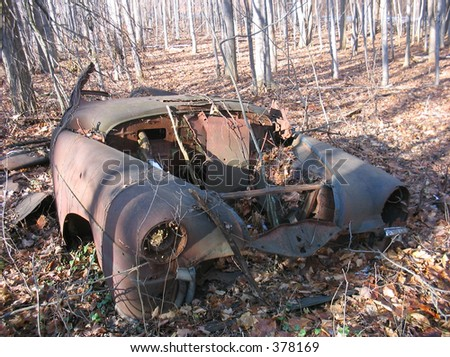 Rusted out car in the middle of the woods