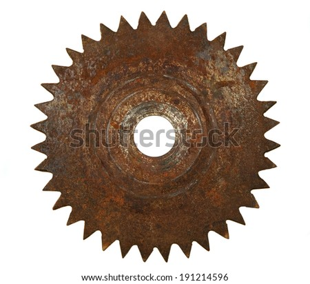 Rusted saw blade in white background - stock photo