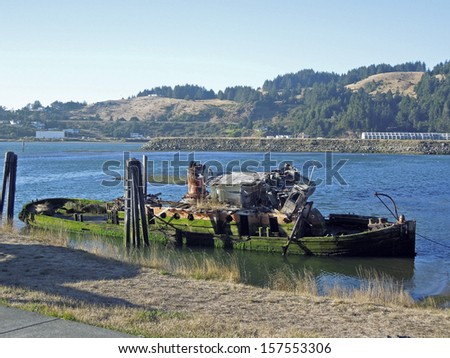 Rusted Shipwreck           - stock photo