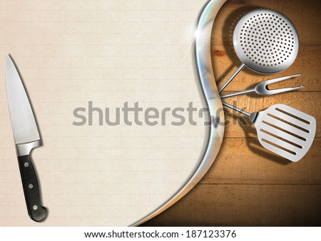 Rustic and Modern Menu Template / Wooden background with kitchen utensils, metal wave and empty sheet of paper, template for recipes or menu - stock photo