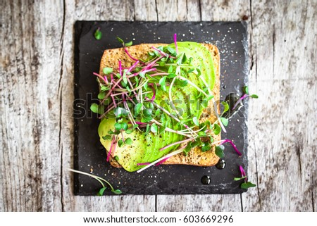 rustic avocado sandwich with fresh radish cress and olive oil, top view