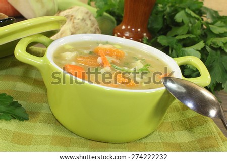 rustic barley porridge with vegetables and parsley