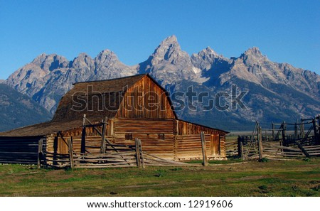Rustic barn at Mormon Row in Grand Teton National Park - stock photo