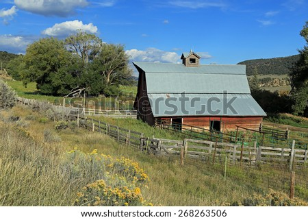 Rustic barn in rural Colorado, USA. - stock photo