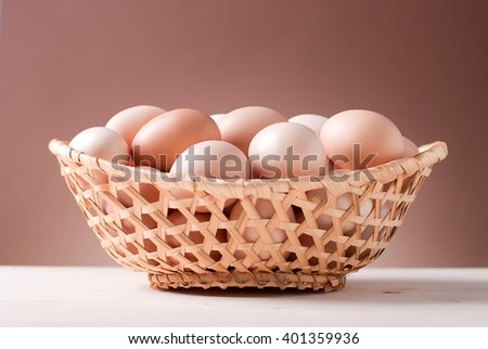 rustic basket with eggs on the table