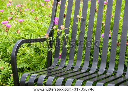 Rustic Bench Bench on a Green Meadow Surrounded by Wildflowers.  - stock photo