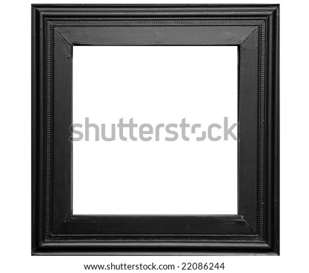 Rustic black photo frame - isolated on white background - stock photo