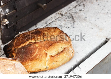 Rustic bread on a craftsman market.Horizontal image.