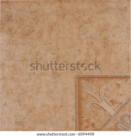 Rustic ceramic tile with floral decoration - stock photo