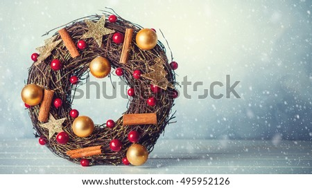 Rustic Christmas wreath with decorations