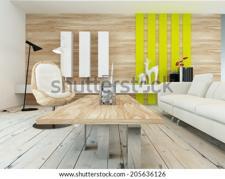 Rustic decor in a modern living room with a wood wall with yellow accents, contemporary wooden coffee table, white painted floorboards and a comfortable white sofa - stock photo