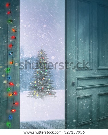 Rustic door opening outside to a snowy winter scene