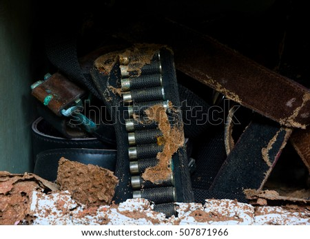 RUSTIC EMPTY CASE - BULLETS IN ROW ON OLD LEATHER BELT AT ABANDONED HOUSE