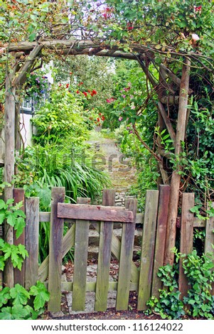 Rustic Garden Gate - stock photo