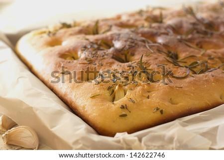 Rustic Garlic Rosemary Focaccia Non sharpen file - stock photo