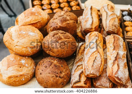 Rustic home made bread - stock photo