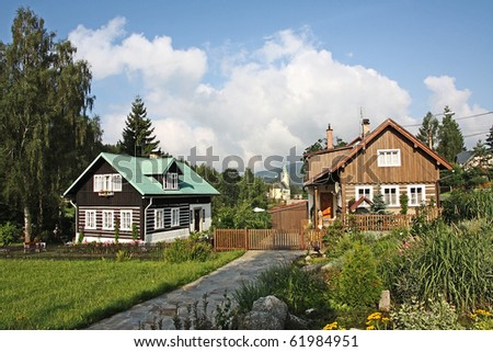Rustic house in Jizera mountains, village Albrechtice Czech republic, Europe