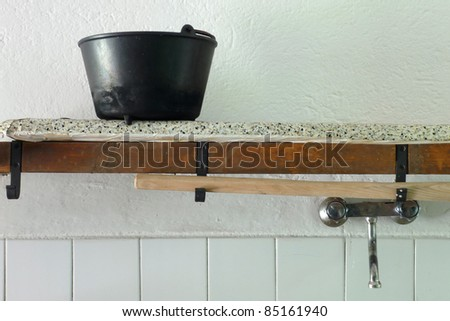 rustic kitchen - stock photo