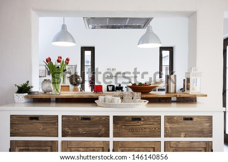 Rustic kitchen interior - stock photo