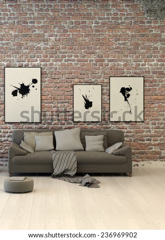 Rustic living area with a rough textured red face brick wall hung with abstract art above a generic upholstered grey sofa with cushions on a painted wood parquet floor. 3D Rendering.  - stock photo