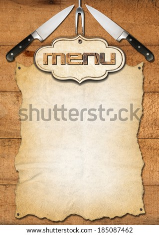 Rustic Menu Template / Wooden boards with empty parchment and kitchen utensils, template for a rustic menu - stock photo