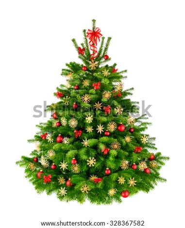 Rustic natural Christmas tree with red baubles, bows and straw stars, studio isolated on white background - stock photo