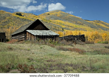 Rustic old house in Autumn season in Colorado at Ashcroft Ghost Town - stock photo