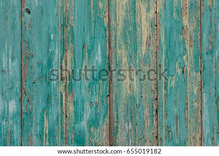 Rustic Old Plank Background In Turquoise Mint Colors With Textures Scratches And Antique Cracked Paint