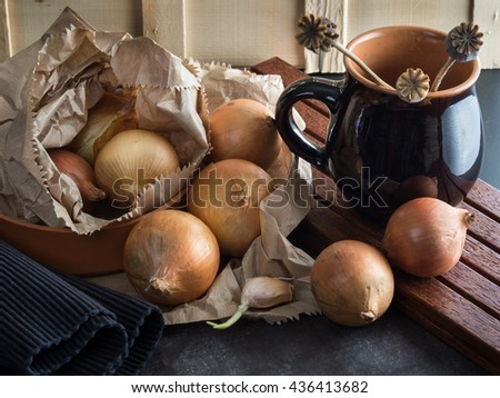 rustic; onion; background; vegetable; food - stock photo