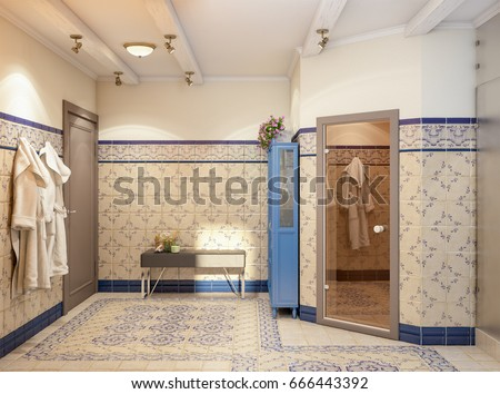 Rustic Provence Spanish Mediterranean Bathroom WC Stock Illustration