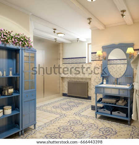 Rustic Provence Spanish Mediterranean Bathroom WC Room Interior Design With Sauna Shower Cabin Blue
