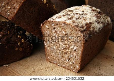 Rustic rye bread - stock photo