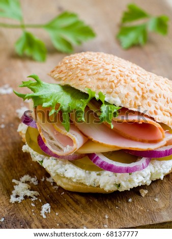 Rustic Sandwich with Lettuce, Cucumber, Ham and Red Onions
