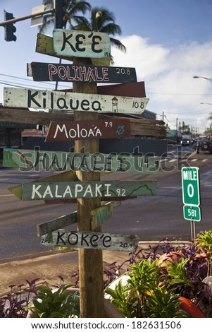 Rustic sign in Kauai in the Hawaiian Islands - stock photo