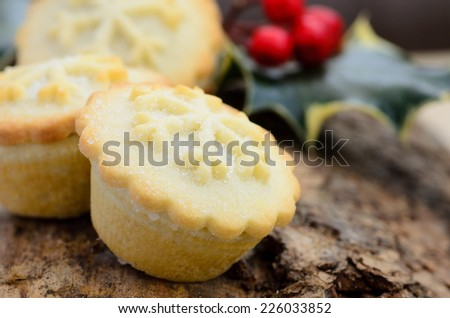 Rustic style christmas mince pies - stock photo