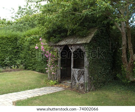 rustic summer house - stock photo